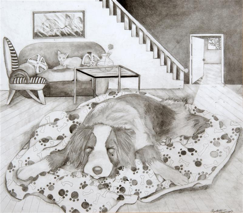 Discover Original Art by Boys & Girls Clubs of San Francisco | Living Room pencil drawing | Art for Sale Online at UGallery