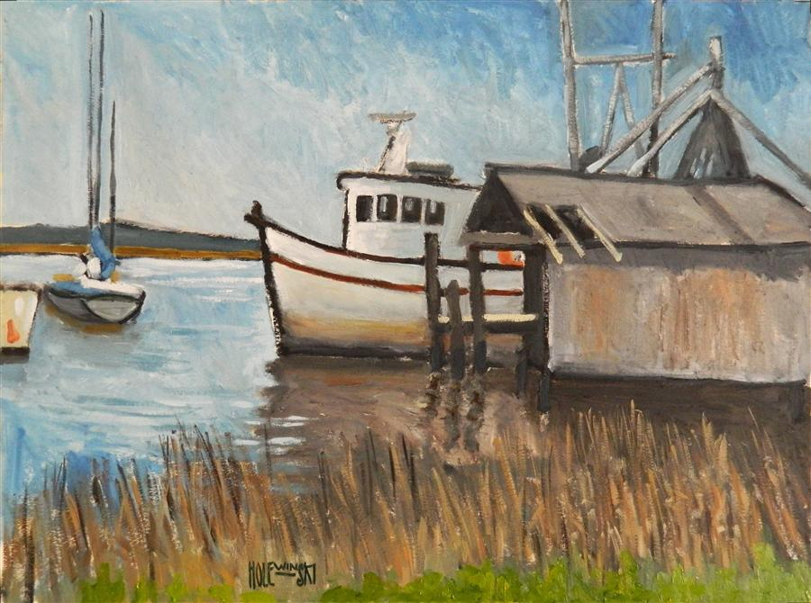 Original art for sale at UGallery.com | St Mary's Shrimp Boat by ROBERT  HOLEWINSKI | $875 | Oil painting | 17' h x 23' w | http://www.ugallery.com/oil-painting-st-mary-s-shrimp-boat