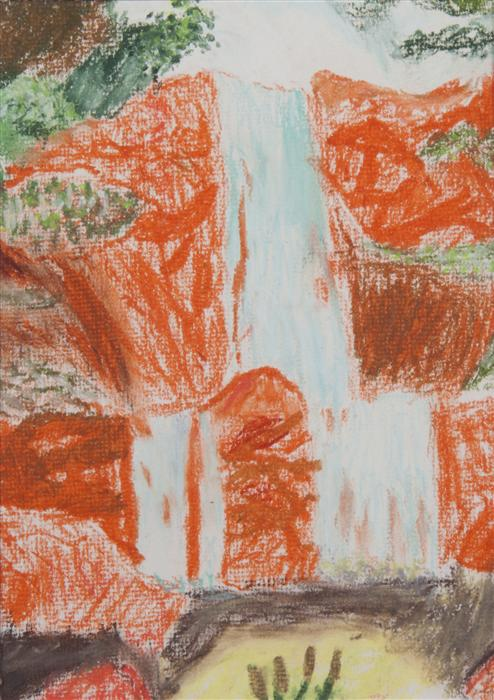 Discover Original Art by Boys & Girls Clubs of San Francisco | Waterfall pastel artwork | Art for Sale Online at UGallery