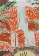 pastel artwork,Waterfall