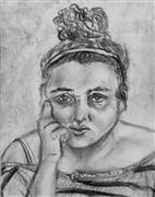 charcoal drawing,Self Portrait III (Glory)