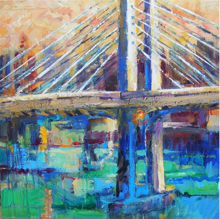 Original art for sale at UGallery.com | City Bridge, Tillikum Crossing by JEAN W. THOMAS | $1,675 | Acrylic painting | 24' h x 24' w | http://www.ugallery.com/acrylic-painting-city-bridge-tillikum-crossing