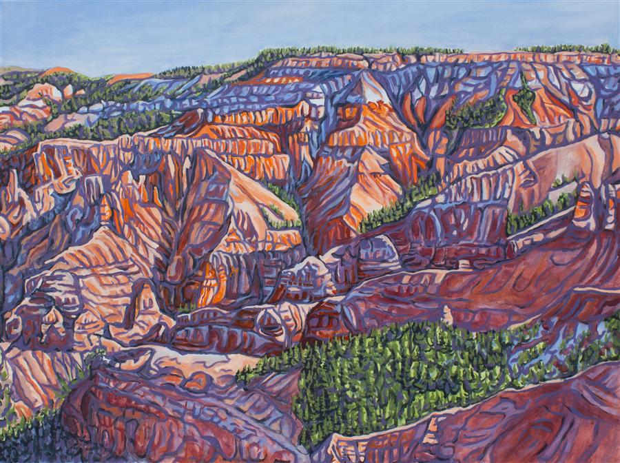 Original art for sale at UGallery.com | Early Morn at Cedar Breaks by CRYSTAL DIPIETRO | $2,975 | Oil painting | 30' h x 40' w | http://www.ugallery.com/oil-painting-early-morn-at-cedar-breaks