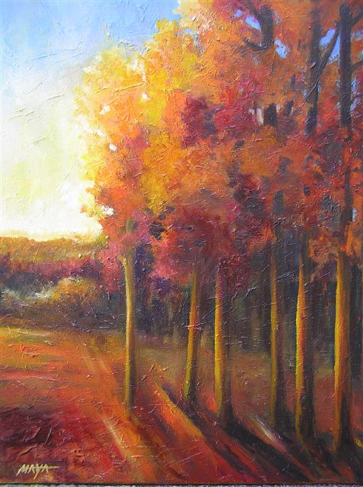 Discover Original Art by Maya Henaff | Golden Sunrise oil painting | Art for Sale Online at UGallery