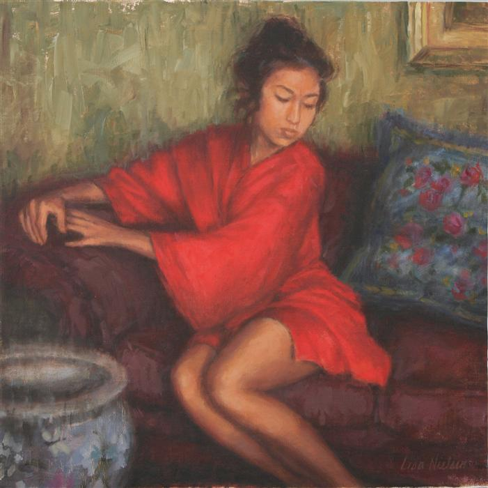 Original art for sale at UGallery.com | Red Silk Robe by LISA NIELSEN | $625 | Oil painting | 12' h x 12' w | http://www.ugallery.com/oil-painting-red-silk-robe