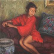 People art,Classical art,Representational art,oil painting,Red Silk Robe