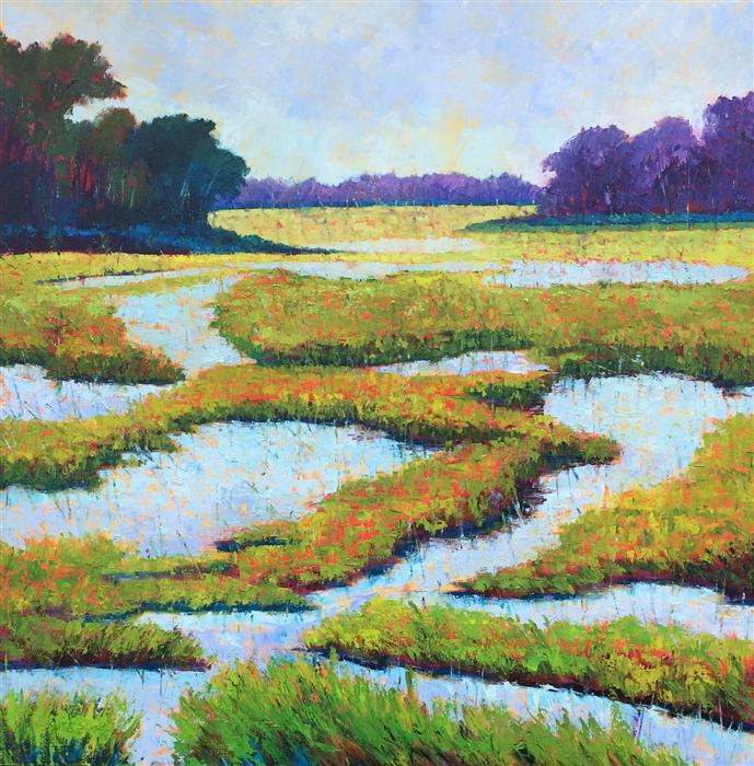 Original art for sale at UGallery.com | High Tide Morning by ROXANNE STEED | $2,900 | Oil painting | 40' h x 40' w | http://www.ugallery.com/oil-painting-high-tide-morning