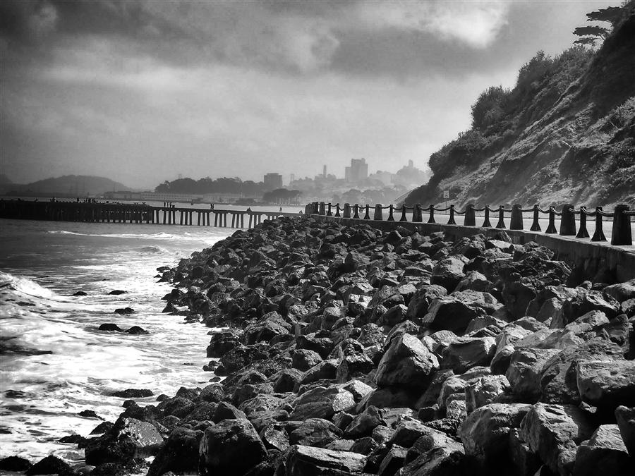 Original art for sale at UGallery.com | Rocks, Surf & City by BOYS & GIRLS CLUBS OF SAN FRANCISCO | $130 |  | ' h x ' w | http://www.ugallery.com/photography-rocks-surf-city