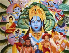 People art,Religion art,Representational art,oil painting,Dashavatar