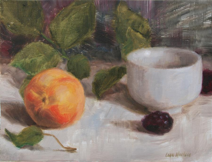 Original art for sale at UGallery.com | Peach and Blackberries by LISA NIELSEN | $250 | Oil painting | 6' h x 8' w | http://www.ugallery.com/oil-painting-peach-and-blackberries