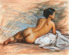 Nudes art,People art,Representational art,oil painting,Nude with Blue