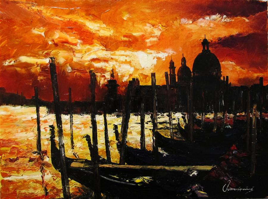 Discover Original Art by Nedim Omercausevic | Sunset Venice  oil painting | Art for Sale Online at UGallery