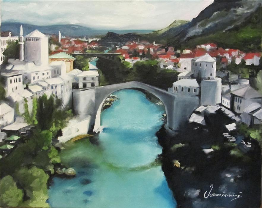 Original art for sale at UGallery.com | Mostar by NEDIM OMERCAUSEVIC | $750 | Oil painting | 16' h x 20' w | http://www.ugallery.com/oil-painting-mostar
