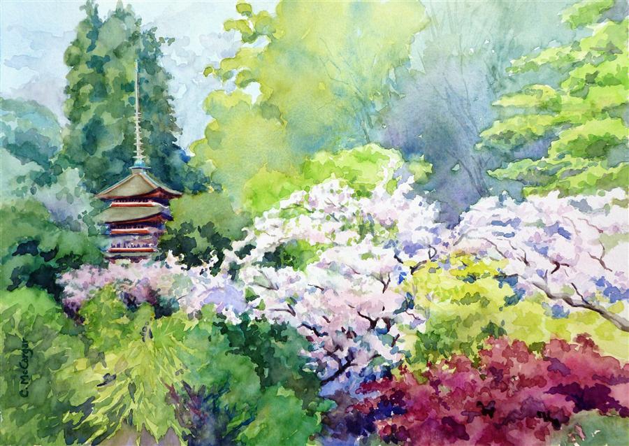 Buy original art by catherine mccargar watercolor for Japanese watercolor paintings