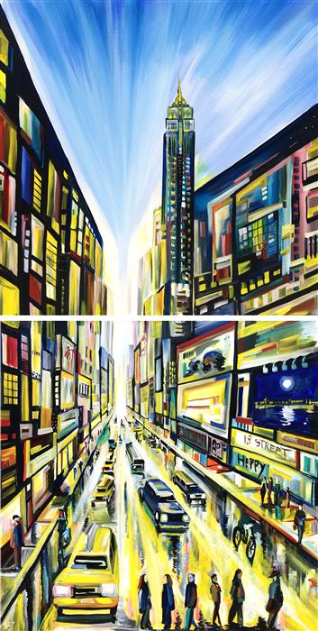 Original art for sale at UGallery.com | Urban Angles I by PIERO MANRIQUE | $4,000 | Acrylic painting | 72' h x 36' w | http://www.ugallery.com/acrylic-painting-urban-angles-i