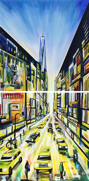 Original art for sale at UGallery.com | Urban Angles III by PIERO MANRIQUE | $4,000 | Acrylic painting | 72' h x 36' w | http://www.ugallery.com/acrylic-painting-urban-angles-iii