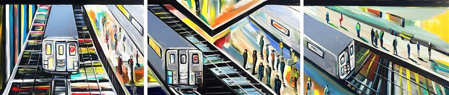 Original art for sale at UGallery.com | Urban Angles IV by PIERO MANRIQUE | $4,075 | Acrylic painting | 24' h x 108' w | http://www.ugallery.com/acrylic-painting-urban-angles-iv