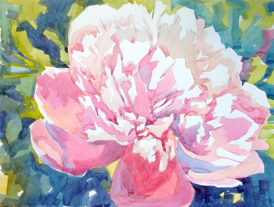Original art for sale at UGallery.com | Large Pink Peony by JO MACKENZIE | $550 | Watercolor painting | 18' h x 24' w | http://www.ugallery.com/watercolor-painting-large-pink-peony