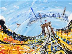 Discover Original Art by Piero Manrique | NY Sky Bridge - Commission acrylic painting | Art for Sale Online at UGallery