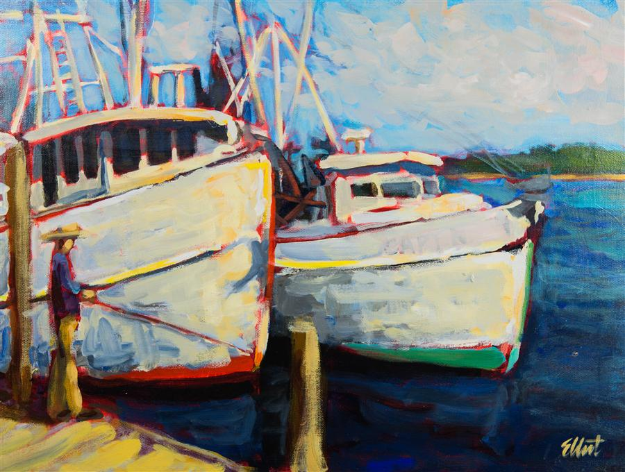 Discover Original Art by Elliot Coatney | Fishing Boats acrylic painting | Art for Sale Online at UGallery
