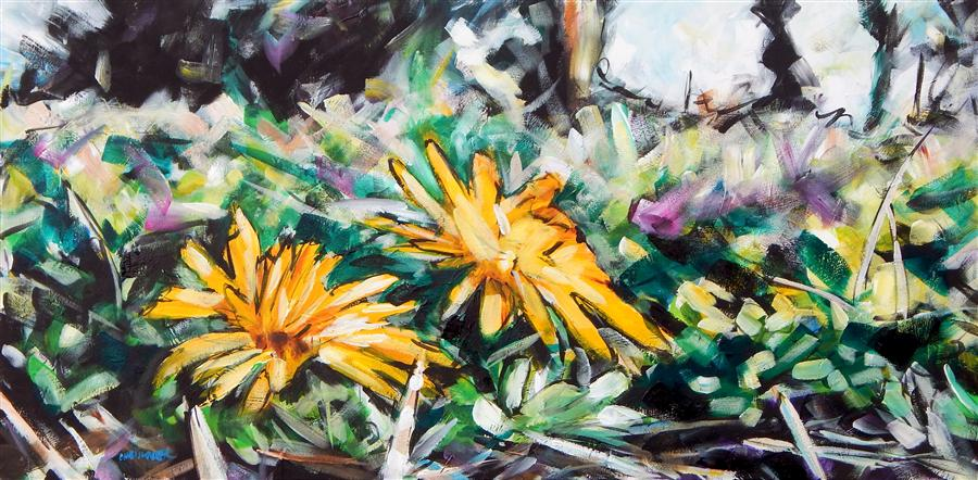 Original art for sale at UGallery.com | Dandelions by CHRIS WAGNER | $1,550 | Acrylic painting | 24' h x 48' w | http://www.ugallery.com/acrylic-painting-dandelions