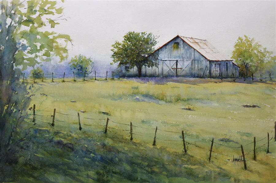 Original art for sale at UGallery.com | Spring Farm by JUDY MUDD | $950 | Watercolor painting | 15' h x 22' w | http://www.ugallery.com/watercolor-painting-spring-farm
