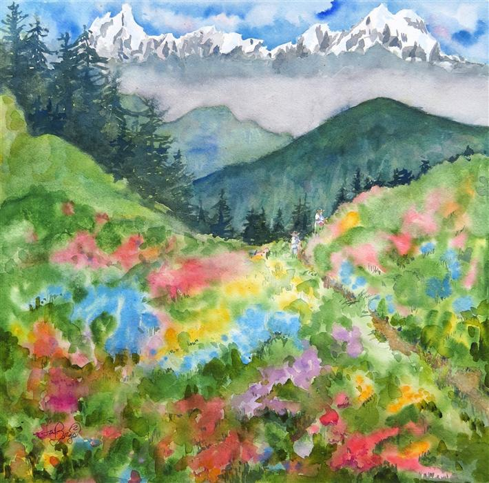 Discover Original Art by Nancy Muren | The Hike watercolor painting | Art for Sale Online at UGallery