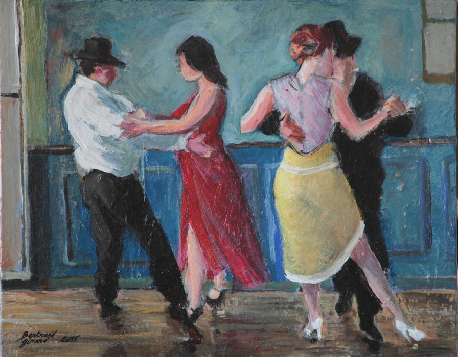 Original art for sale at UGallery.com | The Milonga by BERTRAND GIRARD | $1,075 | Acrylic painting | 16' h x 20' w | http://www.ugallery.com/acrylic-painting-the-milonga