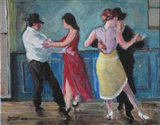 People art,Representational art,Vintage art,acrylic painting,The Milonga
