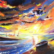 Discover Original Art by Piero Manrique | Sailor Sunset acrylic painting | Art for Sale Online at UGallery