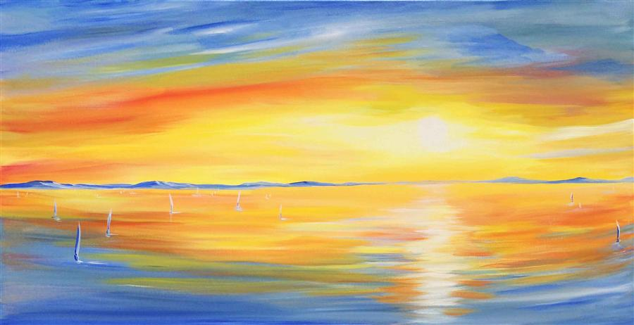 Original art for sale at UGallery.com | Sun Glow by PIERO MANRIQUE | $1,825 | Acrylic painting | 24' h x 48' w | http://www.ugallery.com/acrylic-painting-sun-glow