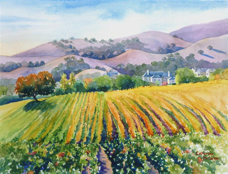 Discover Original Art by Catherine McCargar | Terroir watercolor painting | Art for Sale Online at UGallery