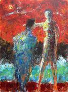 Expressionism art,People art,Representational art,acrylic painting,Time Is on Their Side