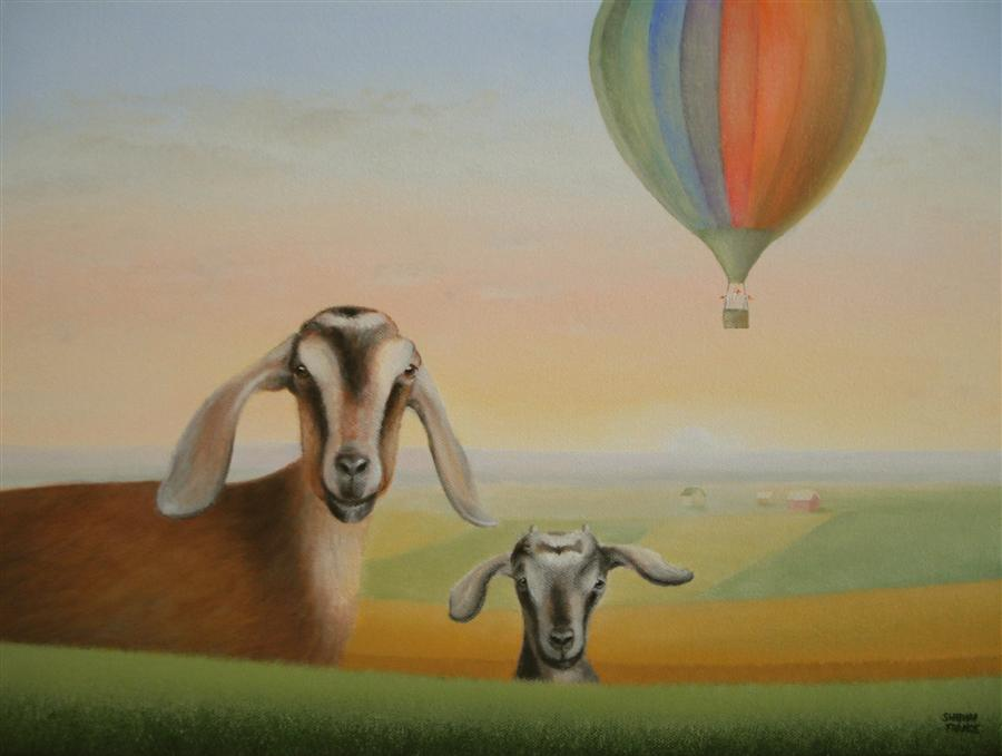 Discover Original Art by Sharon  France | Away in a Balloon! oil painting | Art for Sale Online at UGallery