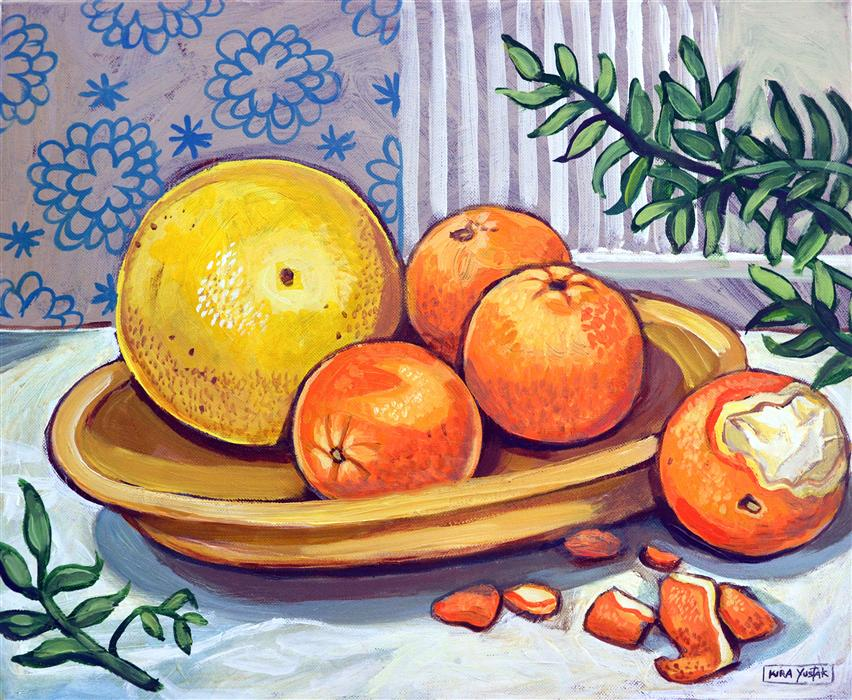 Discover Original Art by Kira Yustak | Peeling an Orange acrylic painting | Art for Sale Online at UGallery