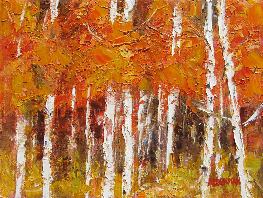 Original art for sale at UGallery.com | Aspen Medley by ROGER ALDERMAN | $500 | Oil painting | 9' h x 12' w | http://www.ugallery.com/oil-painting-aspen-medley