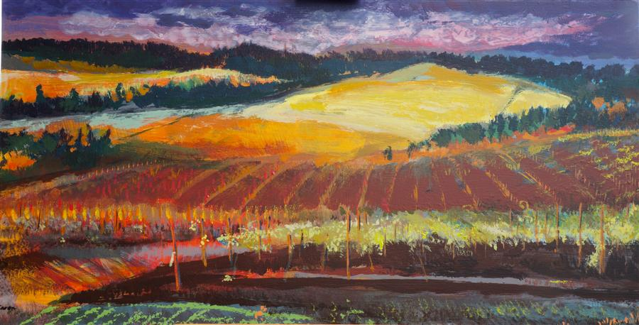 Original art for sale at UGallery.com | Sunset at the Vineyard by SIDONIE CARON | $2,625 | Acrylic painting | 24' h x 46' w | http://www.ugallery.com/acrylic-painting-sunset-at-the-vineyard