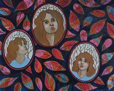 People art,Vintage art,acrylic painting,Looking Forward, Looking Up