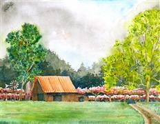 Impressionism art,Landscape art,Representational art,watercolor painting,Spring Colors