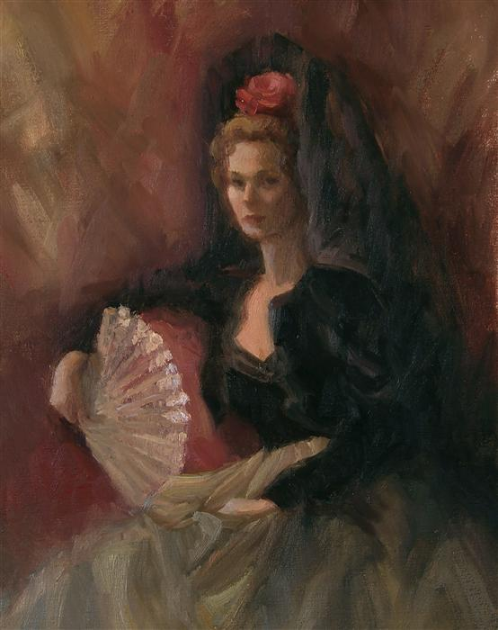 Original art for sale at UGallery.com | Doña Marisa by SHERRI ALDAWOOD | $475 | Oil painting | 14' h x 11' w | http://www.ugallery.com/oil-painting-do-a-marisa