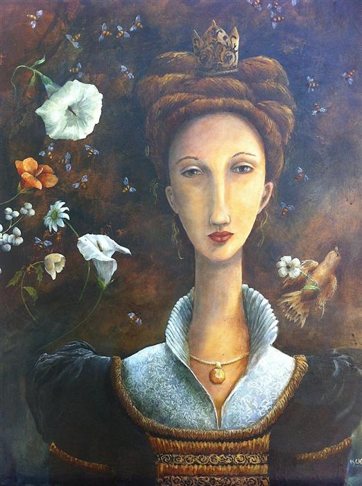 Original art for sale at UGallery.com | Queen Bee by KRISTY GOGGIO | $2,900 | Oil painting | 30' h x 24' w | http://www.ugallery.com/oil-painting-queen-bee