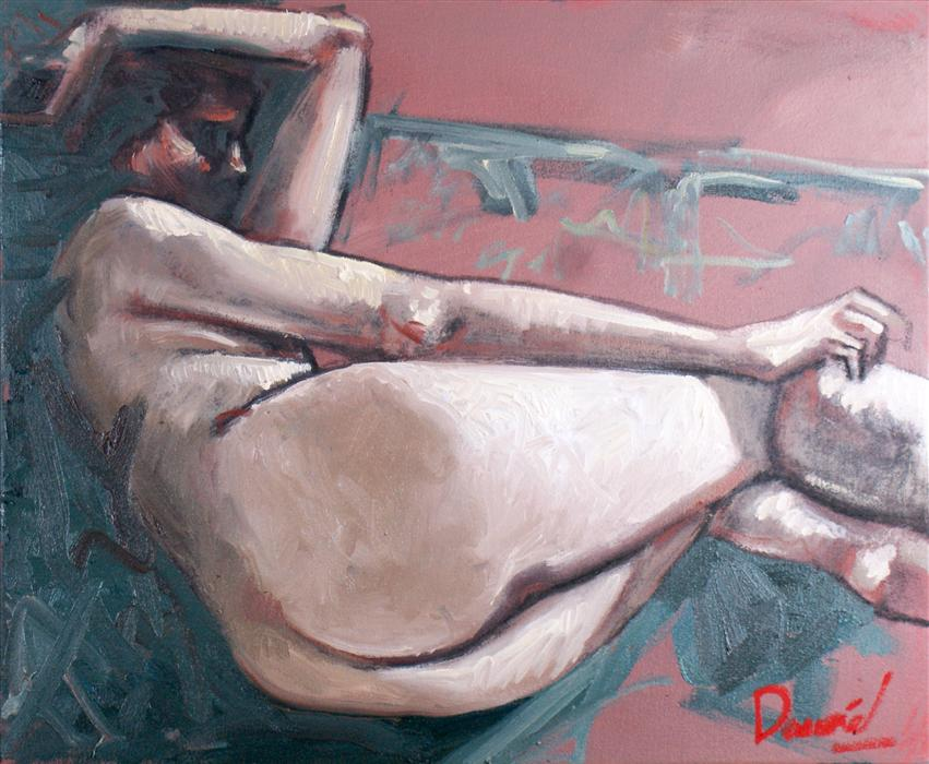 Original art for sale at UGallery.com | Nude Repose by DANIEL HARRIS | $575 | Oil painting | 19' h x 23' w | http://www.ugallery.com/oil-painting-nude-repose