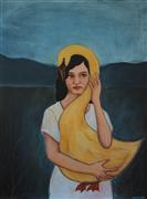 Fantasy art,Animals art,People art,Surrealism art,Representational art,acrylic painting,Her Golden Goose