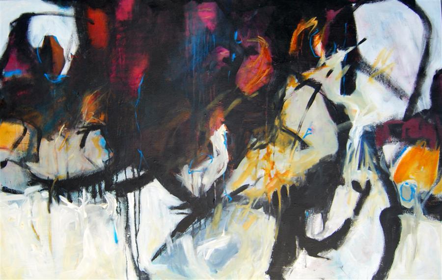 Original art for sale at UGallery.com | Falling Upwards Again by KARA BARKVED | $2,325 | Acrylic painting | 36' h x 48' w | http://www.ugallery.com/acrylic-painting-falling-upwards-again