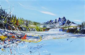 Abstract art,Expressionism art,Landscape art,Travel art,Representational art,acrylic painting,Mountain Waterfall