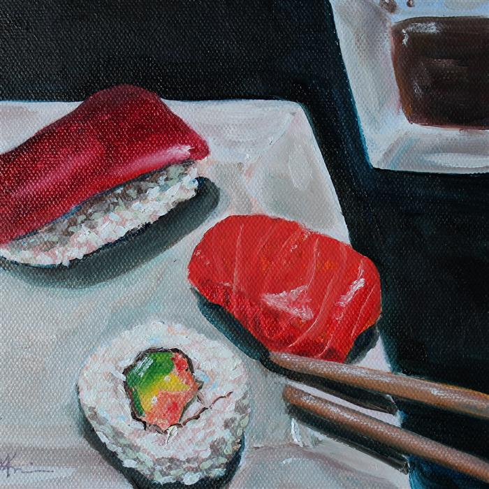 Original art for sale at UGallery.com | Sushi by KRISTINE KAINER | $250 | Oil painting | 6' h x 6' w | http://www.ugallery.com/oil-painting-sushi