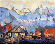 Expressionism art,Landscape art,Representational art,acrylic painting,A Barn and Two Cows