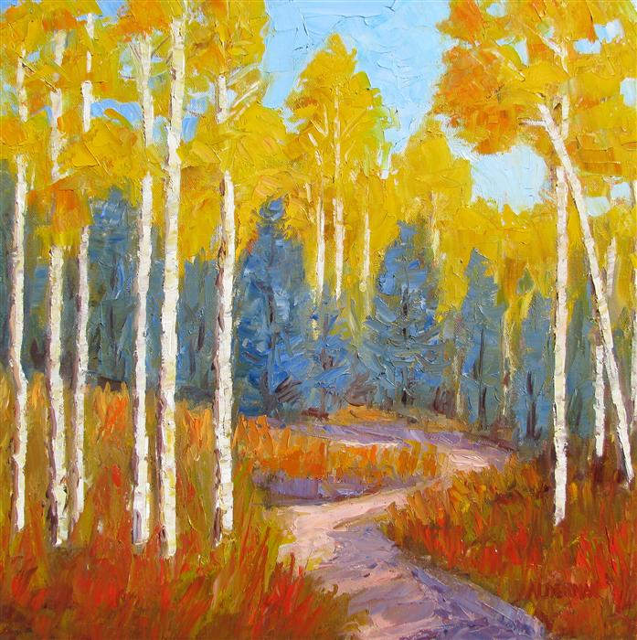 Original art for sale at UGallery.com | Aspen Delight by ROGER ALDERMAN | $1,525 | Oil painting | 20' h x 20' w | http://www.ugallery.com/oil-painting-aspen-delight