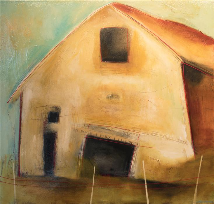 Original art for sale at UGallery.com | Barn by STACY DYNAN | $2,500 | Mixed media artwork | 42' h x 44' w | http://www.ugallery.com/mixed-media-artwork-barn