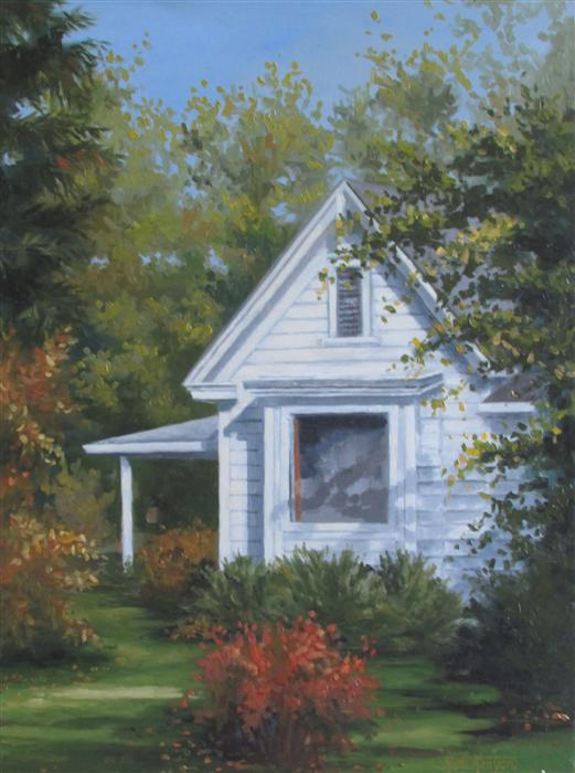 Original art for sale at UGallery.com | Cherry Creek Farmhouse by RON KENYON | $500 | Oil painting | 16' h x 12' w | http://www.ugallery.com/oil-painting-cherry-creek-farmhouse